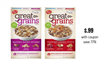 Post Great Grains Cereal Just $.99 after Coupon- Save 77%