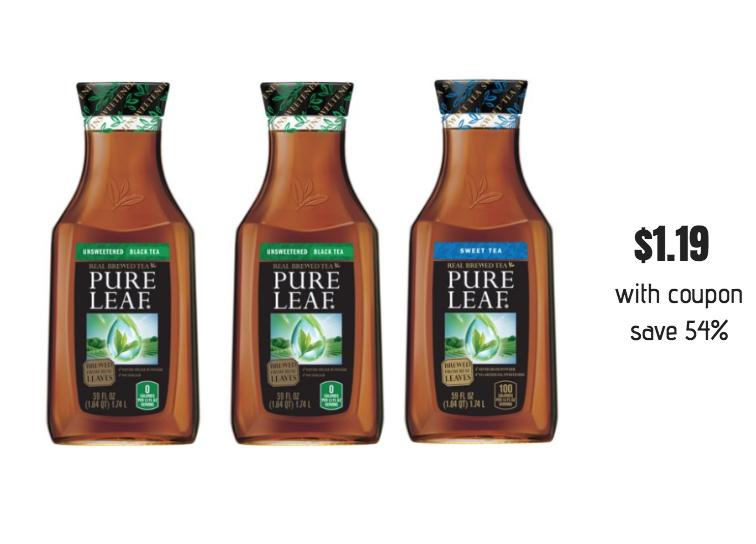 Lipton Tea 20oz Bottle For Sale: Pure Leaf Iced Tea 59 Oz Chilled Carafes Just $1.19 With