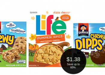 Quaker Chewy Bars or Life Cereal for $1.38