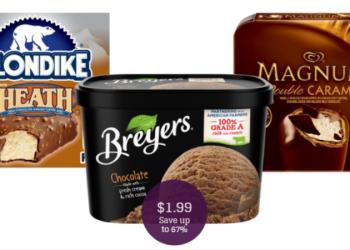 Ice Cream Sale = $1.99 for Breyers, Magnum, & Klondike