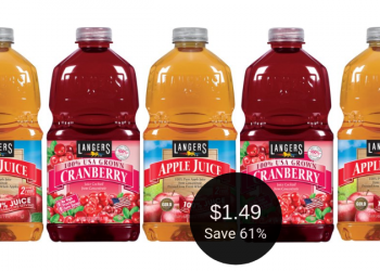 Langers Apple Juice or Cranberry Cocktail for $1.49 at Safeway