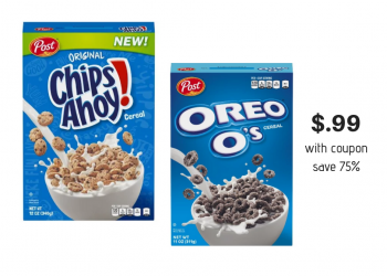 Post Chips Ahoy & Oreo O's Cereal $.99 With Sale and Coupon at Safeway