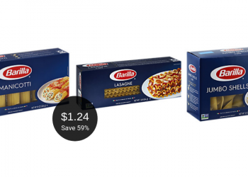 Barilla Lasagne, Jumbo Shells, or Manicotti for $1.24 at Safeway