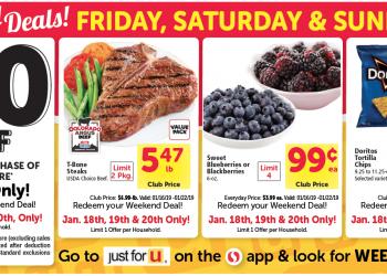 HOT Safeway Weekend Deals – $20 off $100 Coupon, Cheap T-Bone Steaks, 99¢ Berries and 99¢ Doritos