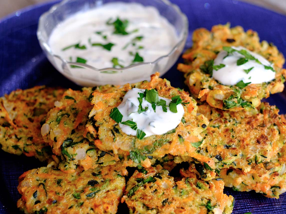 Zucchini Fritters With Garlic Sauce
