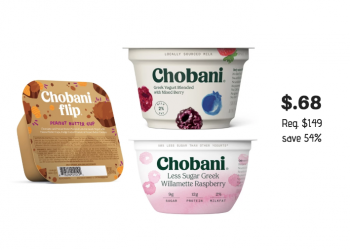 New Chobani Coupons and Sale – Pay just $.68 a cup at Safeway