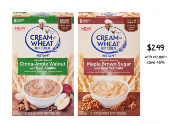 Save 46% on Cream of Wheat Instant Hot Cereal Coupon and Sale at Safeway