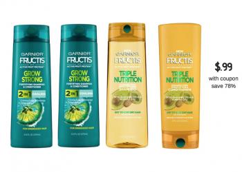 Garnier Fructis Shampoo and Conditioner $.99 at Safeway – 78% Savings