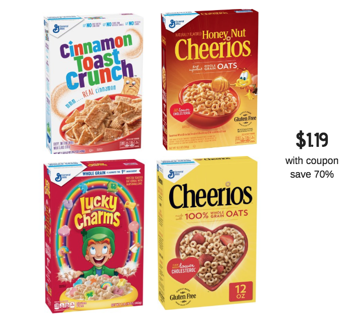General Mills Cereals Just $1.19 Each With Coupon At