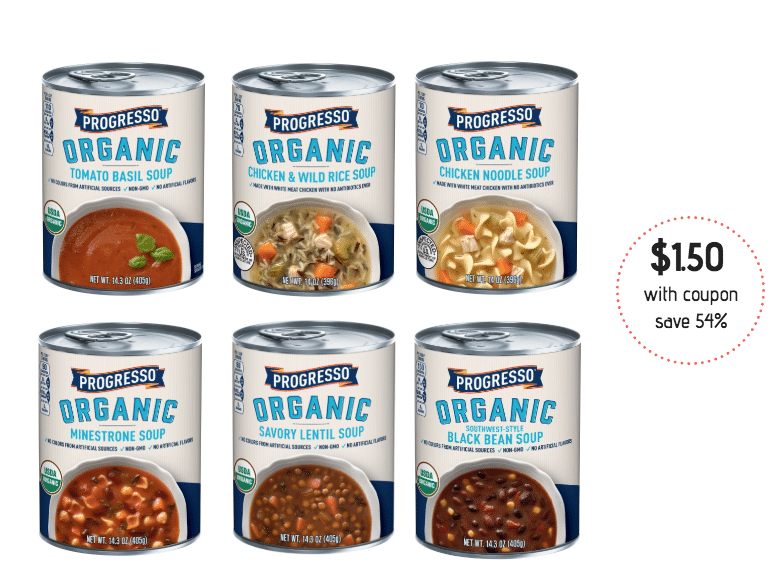 image about Printable Progresso Soup Coupons identified as Purchase Progresso Natural and organic Soup for Simply $1.50 a Can with Coupon