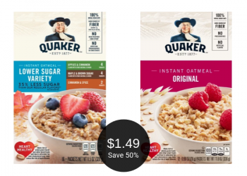 Quaker Instant Oatmeal for $1.49 With Coupon, Save 50% at Safeway