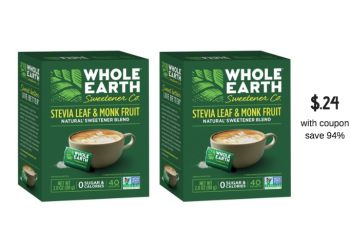 Whole Earth Sweetener Coupons and Sale, Pay Just $.24 for 40 ct. Packets at Safeway and Save 94%