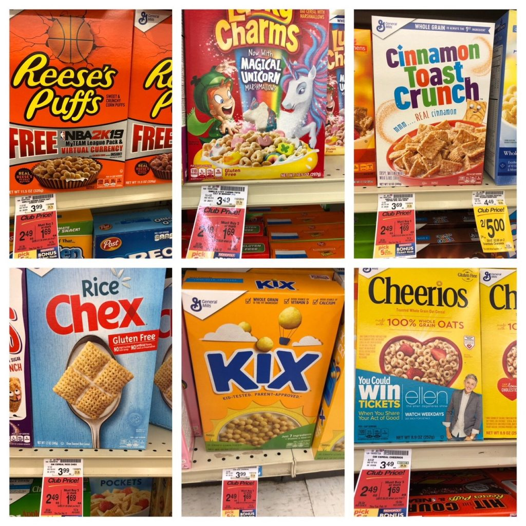 cheerios and gm cereals sale