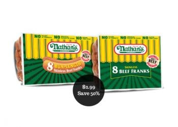 Nathan's Famous Natural Hot Dogs for $2.99 at Safeway