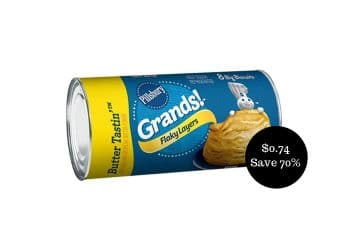 Pillsbury Grands Biscuits 16.3 Oz Cans for $0.74 at Safeway