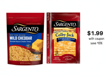 New Sargento Shredded Natural Cheese Coupon and Sale, Pay Just $1.99 a Package at Safeway