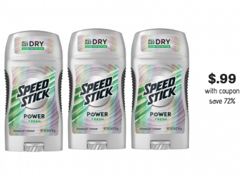 Speed Stick Power Deodorant 3 oz Just $.99 at Safeway With Coupon Thru 3/5