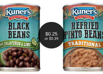 Kuner's Southwest Black Beans $0.25 or Refried Beans $0.39 at Safeway