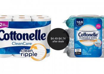 Cottonelle Wipes and Toilet Paper Coupons = Wipes $4.49 & Bath Tissue $4.74 at Safeway