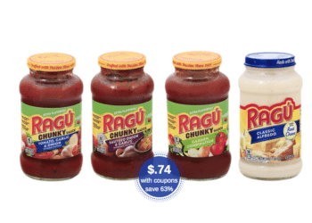 Ragu Coupons & Sale at Safeway, Get 5 Jars for ONLY $.74 Each (Save 63%)