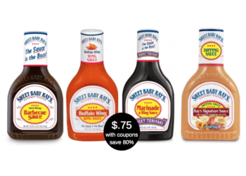 Sweet Baby Ray's Sauces Deal, Pay as low as $.75 for for Marinades, Wing & Dipping Sauces & BBQ Sauce