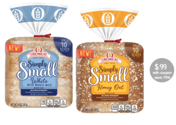 Oroweat Simply Small Bread Coupon and Sale, Pay Just $.99