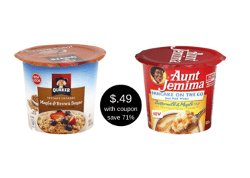 49¢ Quaker Instant Oatmeal and Aunt Jemima Single Serve Cups at Safeway