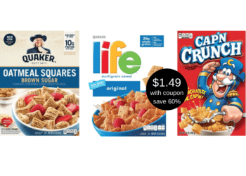 Quaker Oatmeal Squares, Life or Cap'N Crunch Cereal Just $1.49 Each With New Coupon at Safeway
