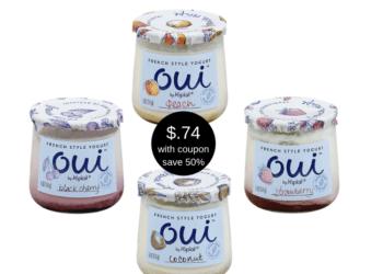 Oui by Yoplait French Style Yogurt Just $.74 a Jar at Safeway (Reg. $1.49)
