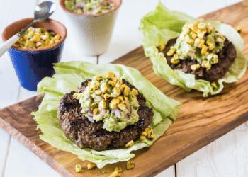 Guacamole Burger With Roasted Corn Salsa