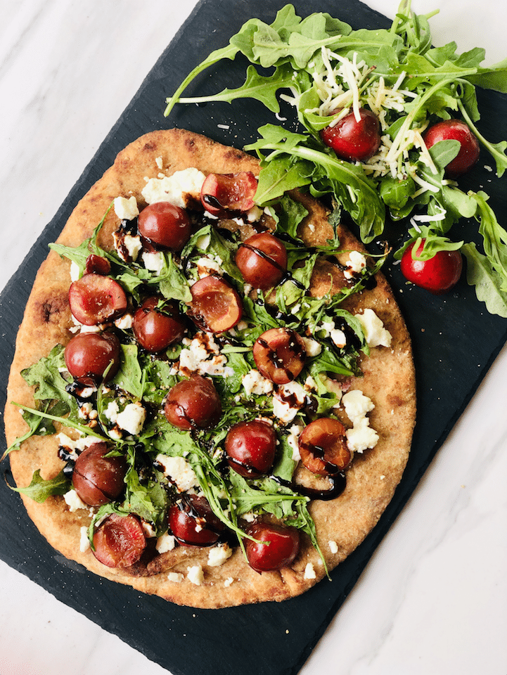 Grilled Cherry Goat Cheese Arugula Flatbread With Honey Balsamic Glaze Super Safeway