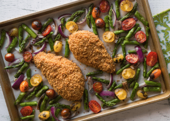 Sheet-Pan Almond Crusted Chicken with Lemon Basil Garlic Sauce