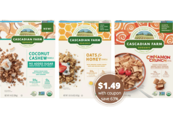 $1.49 Cascadian Farm Organic Cereal and Granola Bars at Safeway
