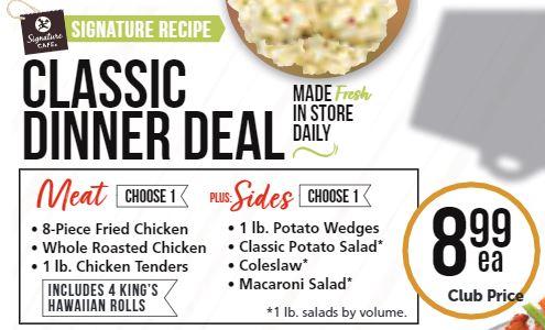 Safeway Cafe Classic Dinner Deal