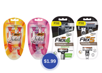 BIC Flex, Hybrid, or Soleil Disposable Razors for $1.99 at Safeway