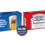 Bud Light Beer & Budweiser 15 Packs Just $4.99 at Safeway