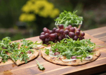 Grilled Flatbread With Brie, Grapes and Arugula