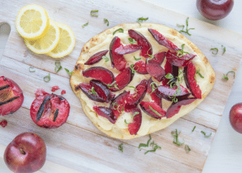 Grilled Plum & Goat Cheese Flatbread