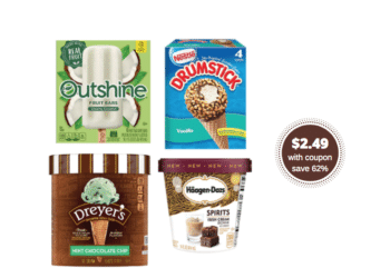 Outshine Fruit Bars, Haagen Dazs Ice Cream & Novelties, Dreyer's and Drumsticks Just $2.49 With Coupon