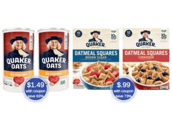 $.99 Quaker Oatmeal Squares and $1.49 Old Fashioned Oats at Safeway