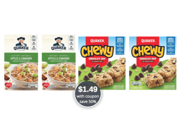 Quaker Instant Oatmeal, Cereal and Chewy Bars for $1.49 With Coupon, Oats $1.99