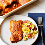 Vegetarian Enchiladas Using OZO Mexican Seasoned Plant-Based Ground