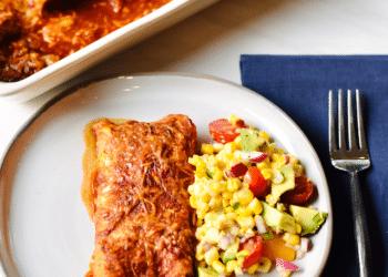 Vegetarian Enchiladas Using OZO Mexican Seasoned Plant-Based Ground