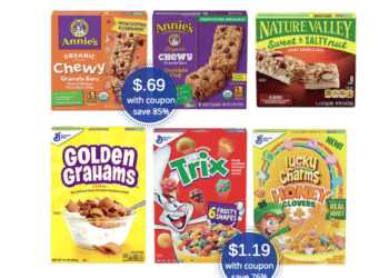 69¢ Annie's Organic Snacks and Save 76% on General Mills Cereals, Nature Valley & Fiber One Bars at Safeway