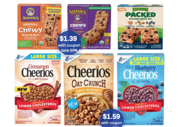Buy 2, Get 3 Free Annie's, Nature Valley & General Mills Large Cereal Boxes – as low as $1.19 Each at Safeway