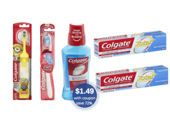 Save $23 on Colgate Total Mouthwash, Toothpaste and 360 Toothbrushes at Safeway
