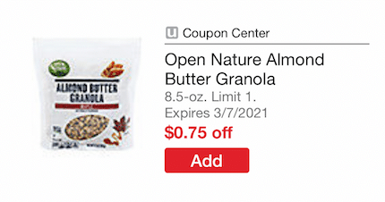 open_nature_Almond_butter_Granola_Coupon