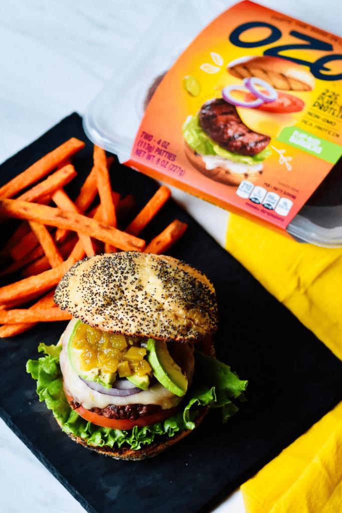 ozo plant-based burgers pin