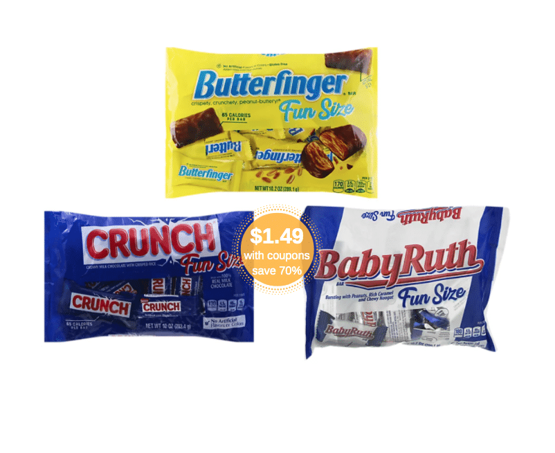 Butterfinger, Crunch, Baby Ruth and 100 Grand Fun Size ...