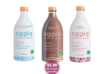 NEW Ripple Milk Coupon, Pay Just $1.99 for 48 oz Ripple Plant-Based Milk at Safeway (Reg. $4.99)